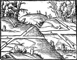 Abbildung aus: Georgii Agricolae De re metallica libri XII: quibus officia, instrumenta ... von Georg Agricola, Officina Frobeniana (Basilea)