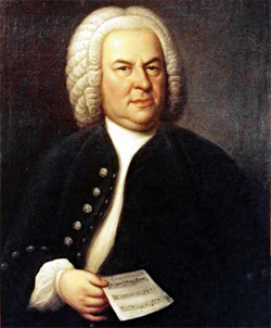 Johann Sebastian Bach (aged 61) on a portrait of Elias Gottlob Haussmann (1695–1774): Copy or second Version of the 1746 canvas, Date1748 Medium color on canvas, Private collection William H. Scheide, Princeton, New Jersey, Flag of the United States.