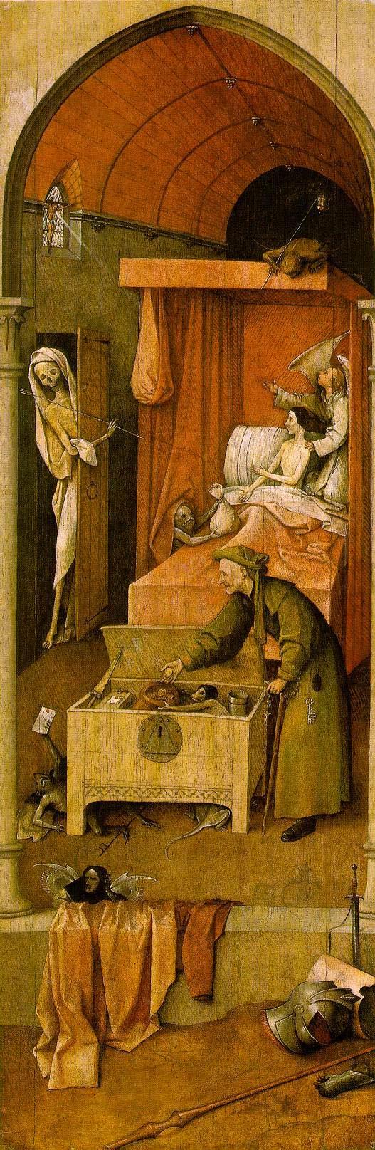 Hieronymus Bosch: Der Tod eines Geizhalses (Ausschnitt); Quelle: Wikimedia / The Yorck Project: 10.000 Meisterwerke der Malerei. DVD-ROM, 2002. ISBN 3936122202. Distributed by DIRECTMEDIA Publishing GmbH.