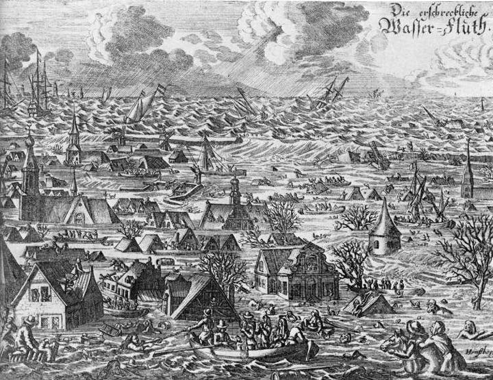 Zeitgenössische Darstellung der verheerenden Burchardiflut von 1634. Quelle: Wikimedia Commons