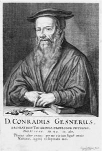 Konrad Gesner (1516-1565), schweizerischer Arzt, Naturforscher und Altphilologe, 1662, Stich von Conrad Meyer (1662), Wikimedia Commons