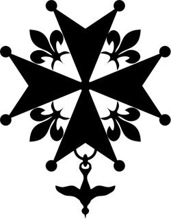Hugenottenkreuz; am 11.05.2008 bei Wikimedia Commons hochgeladen von Syryatsu; Quelle: Création personnelle