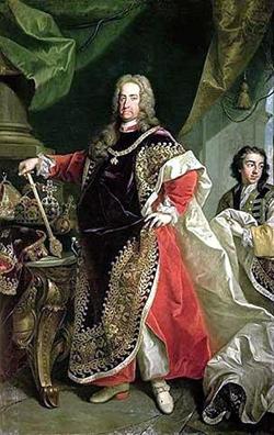 Kaiser Karl VI. im Ornat als Großmeister des Ordens vom Goldenen Vlies, Gemälde von Johann Gottfried Auerbach; Quelle: Wikimedia Commons / www.kunst-fuer-alle.de