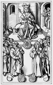 Der Kölner Schiedsspruch von 1505. König Maximilian I. regelt die Nachfolge. Quelle: Bayerische Staatsbibliothek München; Urheber: Andreas Zainer / Wikimedia Commons