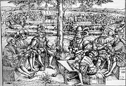 Kriegsrat zur Zeit des schmalkaldischen Krieges, Holzschnitt Reinhart des Älteren
