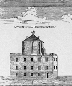 Haus und Observatorium von Andreas Celsius / Quelle: Wikimedia Commons, from a contemporary engraving.