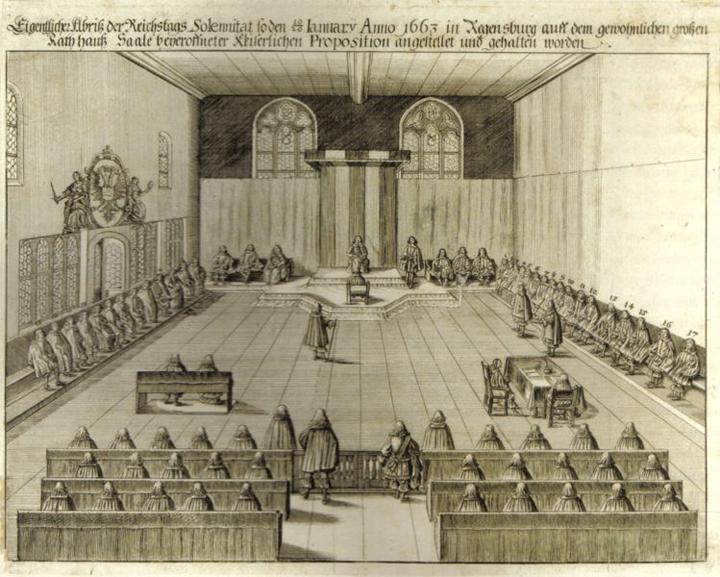 Immerwährender Reichstag zu Regensburg 1663, Kupferstich aus dem Jahre 1663; Quelle: Katalog Ausstellung HRR / Wikimedia Commons