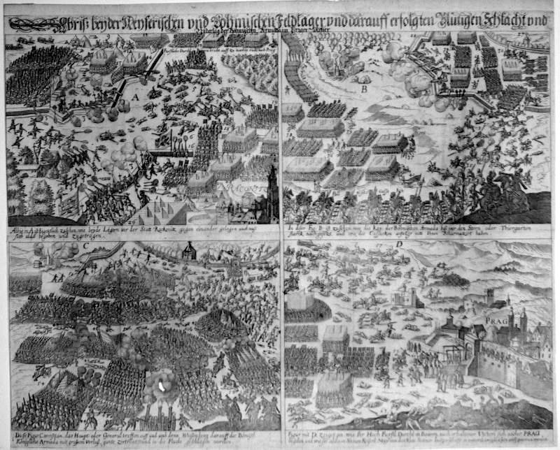 Zeitgenössische Darstellung der Schlacht am Weißenberg. Quelle: Wikimedia Commons / Scanned and uploaded by MatthiasKabel from the German wiki