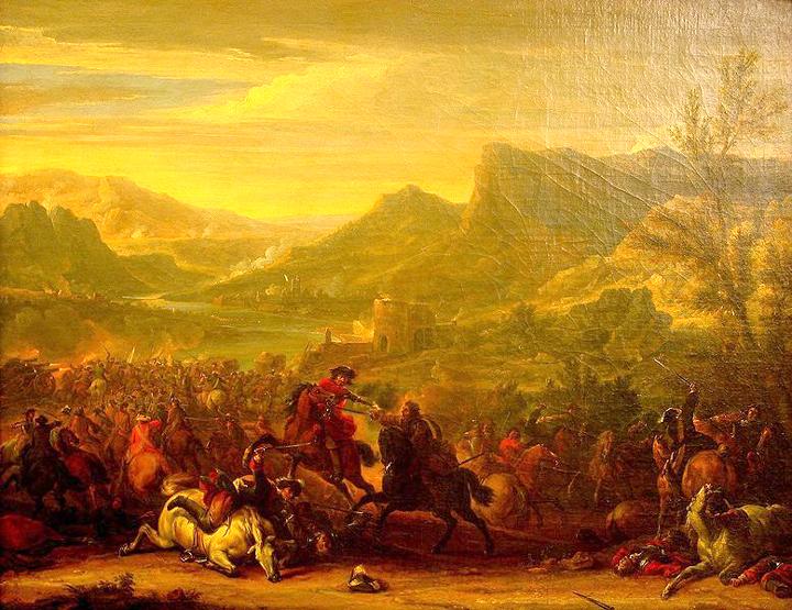 Die Schlacht bei Calcinato 1706 (Spanischer Erbfolgekrieg), von Jean Baptiste Martin (1659-1735) im Heeresgeschichtlichen Museum, Wien. Quelle: Selbst erstellt im Heeresgeschichtlichen Museum, Wikimedia Commons / Pappenheim