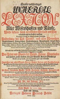 """Titelblatt zu """"Grosses vollständiges Universal-Lexicon …"""", Erster Band, Halle und Leipzig 1732, Verlag Johann Heinrich Zedler / Quelle: Wikimedia Commons"""