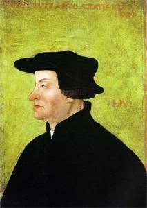 Ulrich Zwingli auf einem Porträt von Hans Asper, entstanden nach dem Tod Zwinglis. Öl auf Pergament. 35 x 24.5 cm. Rechts Monogramm HA, oben beschriftet mit OCCUBIT ANNO AETATIS XLVII 1531 - er verstarb im 47. Altersjahr 1531. Quelle: Winterthur Kunstmuseum / Wikimedia Commons