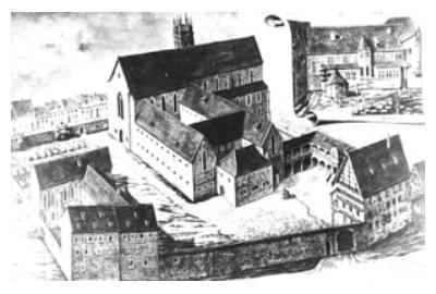 Augustinerkloster Erfurt im 16. Jh., circa 1900, Internet, E. Scharffenberg (gest. 1930)