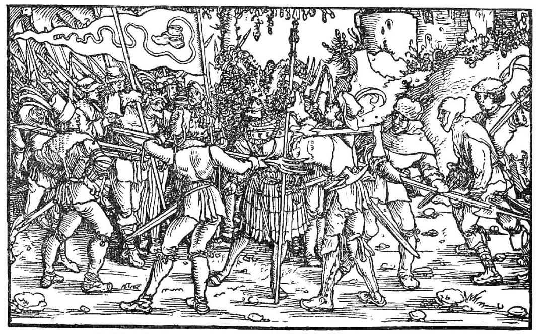 Aufständische Bauern mit Bundschuhfahne umzingeln einen Ritter. Holzschnitt des sog. Petrarca-Meisters aus dem Trostspiegel, 1539. Quelle selbst gescannt von User Rosenzweig auf de.wikipedia