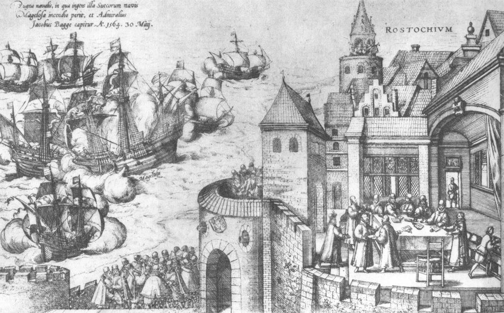 """Die Grafik (Frans Hogenberg, zwischen 1535 und 1590, wahrscheinlich 1589) zeigt den Verlauf der Seeschlacht am 30./31.Mai 1564 in der Ostsee zwischen den Inseln Öland und Gotland zur Zeit des Dreikronenkrieges. In der rechten Bildhälfte sind die gescheiterten Friedenverhandlungen in der Stadt Rostock (ROSTOCHIVM) zu sehen. Die linke Bildhälfte zeigt die Kaperung des schwedischen Flaggschiffes MARS (auch bekannt als Makalös bzw. Jutehattaren) durch das Lübecker Flaggschiff """"Der Engel"""" sowie weitere Schiffe der dänisch-lübecker Flotte. Die Seeschlacht endete mit der Versenkung der Mars und der Gefangennahme des schwedischen Befehlshabers Admiral Jakob Bagge sowie seinem Stellvertreter Arvid Trolle. SourceGrafik stammt vermutlich aus einem Werk, das Hogenberg als Nachruf auf den dänischen König Frederik II. um 1589 fertigte"""