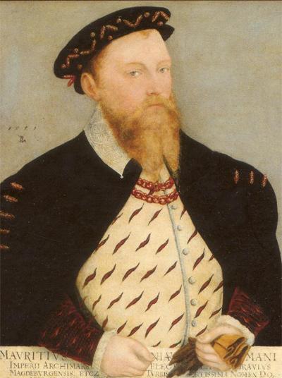 Lucas Cranach d.J.: Kurfürst Moritz von Sachsen (und seine Gemahlin Agnes), Ausschnitt aus dem Ehebild, 1559. Staatliche Kunstsammlungen Dresden. Wikimedia Commons