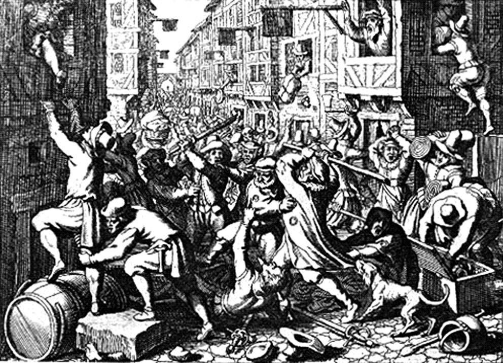 Die Plünderung der Frankfurter Judengasse während des Fettmilch-Aufstands; Stich von Matthäus Merian aus dem Jahr 1628. Bild von Georg Keller (Stich), SteffenG (Hochladender). Wikimedia Commons