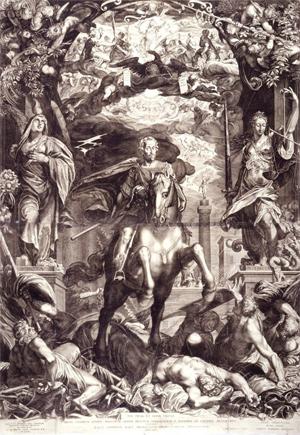 Egidius Sadeler: Kaiser Ferdinand II. triumphiert über seine Feinde, Kupferstich, 1629. Quelle: Habsburger.net /Wikimedia Commons