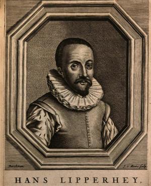 Hans Lipperhey in einer Abbildung aus dem Buch: Borel, Pierre: De vero telescopii inventore,: cum brevi omnium conspiciliorum historia. 1655.