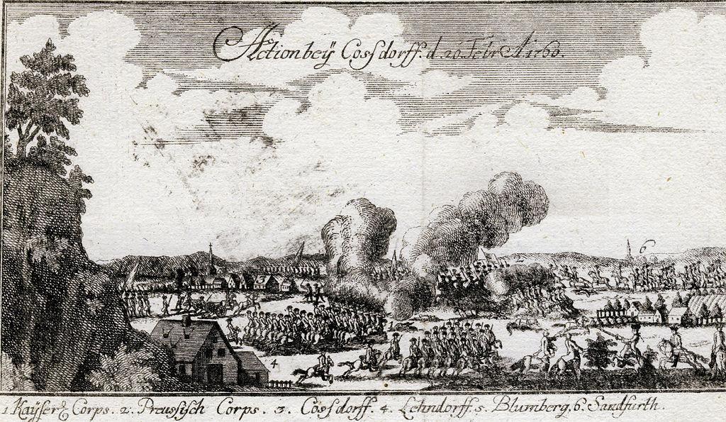 Szene aus dem Krieg: Cossdorff d. 20 Febr. 1760, Ansicht mit der Schlacht zwischen österreichischen und preussischen Truppen, 1761, Urheber aus Ben Jochai 1761 / Wikimedia Commons