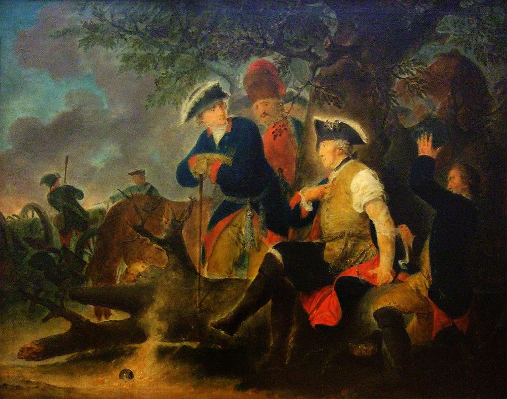 """Friedrich der Große und der Feldscher (um 1793-95) von Bernhard Rode. """"In dem Feldzuge 1778 ließ sich der König einmal eine Ader schlagen. An demselben Tage fiel nachmittags eine Kanonade mit dem Feinde vor, welche so stark ward, dass der König nötig fand, selbst hinzureiten. Bei der Bewegung sprang ihm die Ader auf. Der König stieg vom Pferde und ließ sich von einem Kompagniefeldscher, welcher sich von ungefähr daselbst fand, die Ader sich wieder zubinden. Es schlug eine Kanonenkugel neben ihm nieder; der Feldscher erschrak und zitterte; der König sagte lächelnd zu den Umstehenden: Der muss noch nicht viel Kanonenkugeln gesehen haben."""" (Katalog der Akademieausstellung von 1795, No. 10) / Wikimedia Commons"""