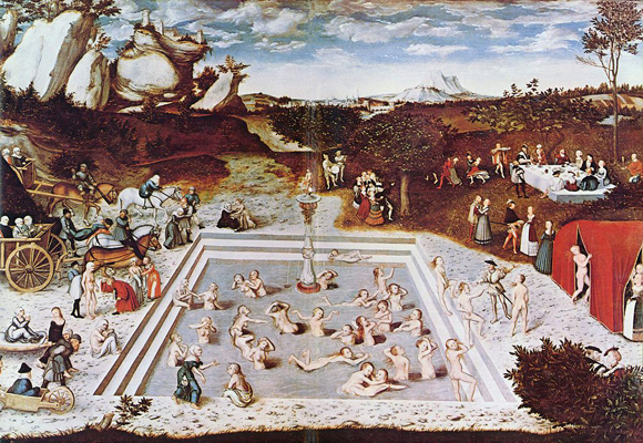 Lucas Cranach der Ältere: Der Jungbrunnen (1546); The Yorck Project: 10.000 Meisterwerke der Malerei. DVD-ROM, 2002. ISBN 3936122202. Distributed by DIRECTMEDIA Publishing GmbH / Wikimedia Commons