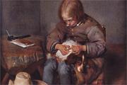Ausschnitt aus: Terbrorch: Ein Knabe floht seinen Hund. 5.555 Meisterwerke. © 2000 DIRECTMEDIA Publishing GmbH