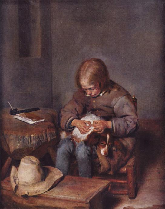 """Gerard Terborch (der Jüngere): Ein Knabe floht seinen Hund"""" (um 1655); Bild: 5.555 Meisterwerke. © 2000 DIRECTMEDIA Publishing GmbH"""