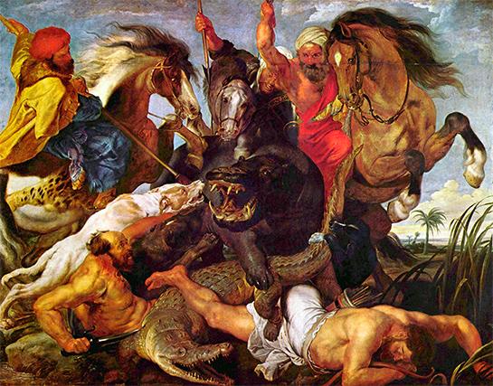 Peter Paul Rubens: Die Nilpferdjagd (um 1615); Bild:  5.555 Meisterwerke. © 2000 DIRECTMEDIA Publishing GmbH