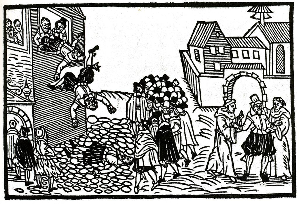 Der Prager Fenstersturz auf einem zeitgenössischen Flugblatt, 1618, Quelle: Wikimedia Commons / Peter Milger: Der Dreißigjährige Krieg. Gegen Land und Leute. Niedernhausen 2001, ISBN 3-572-01270-8